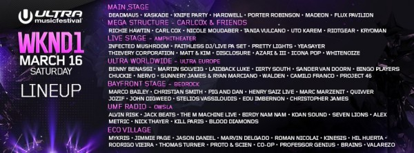 Ultra Music Festival 2013 Miami - Lineup DJs March 16th