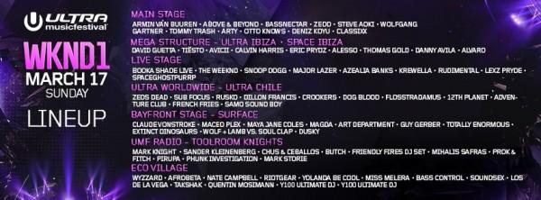 Ultra Music Festival 2013 Miami - Lineup DJs March 17th